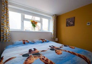 Sleeping with giraffes: the double bed duvet at The Giraffe House UK, Ipswich's newest short stay accommodation